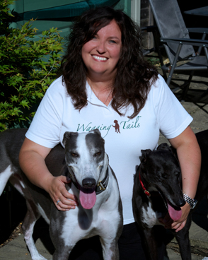 Wagging Tails GU Franchisee Clair Slingo with Luna and  Bailey