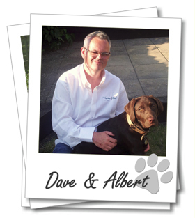 Wagging Tails Cardiff dog boarding. Dave Parton and puppy Albert