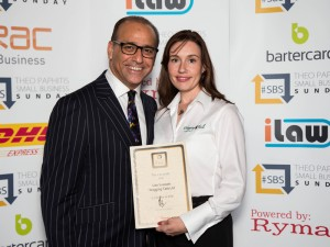 Theo Paphitis with dog franchise owner Lisa Suswain