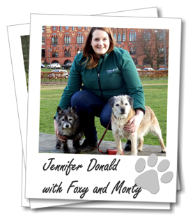 Glasgow dog boarding franchisee Jennifer Donald with her dogs Foxy and Monty
