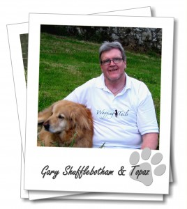 Gary Shufflebotham, owner of Torquay dog boarding company Wagging Tails, with his dog Topaz