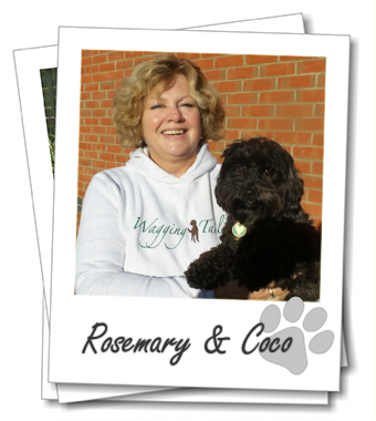 Wagging Tails franchisee Rosemary Gooch with her dog Coco