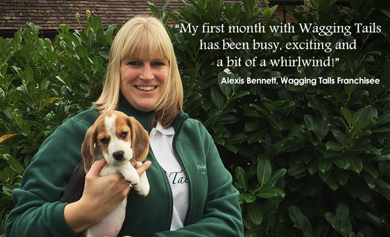 Wagging Tails dog care franchisee, Alexis Bennett, with her Beagle Brea