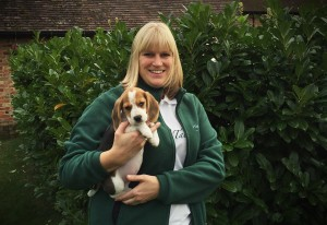 Wagging Tails franchisee: former head mistress Alexis Bennett with her Beagle, Brea