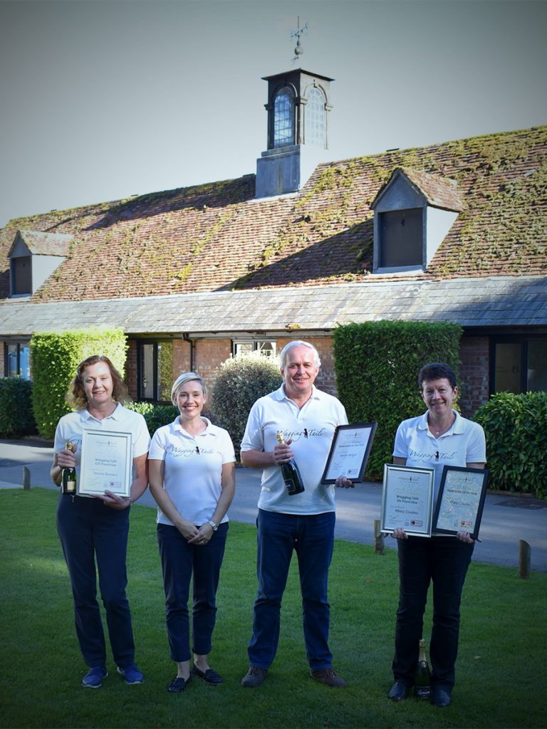 Wagging Tails 2018 Award Winners. Teresa Bowers (left), Hilary Coates (right) and Kevin Wright (middle right) pictured with Wagging Tails' Director Lisa Suswain